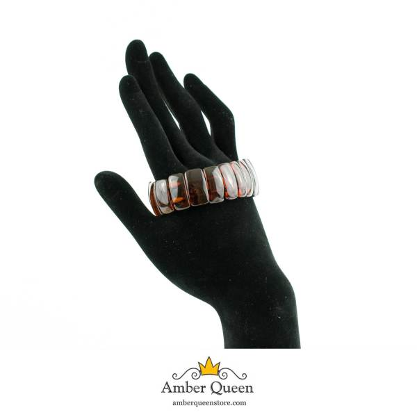 Cherry Flat Elastic Amber Bracelet on Hand