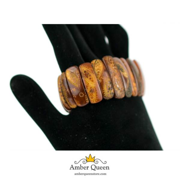 Empossed Beads Amber Bracelet on Hand