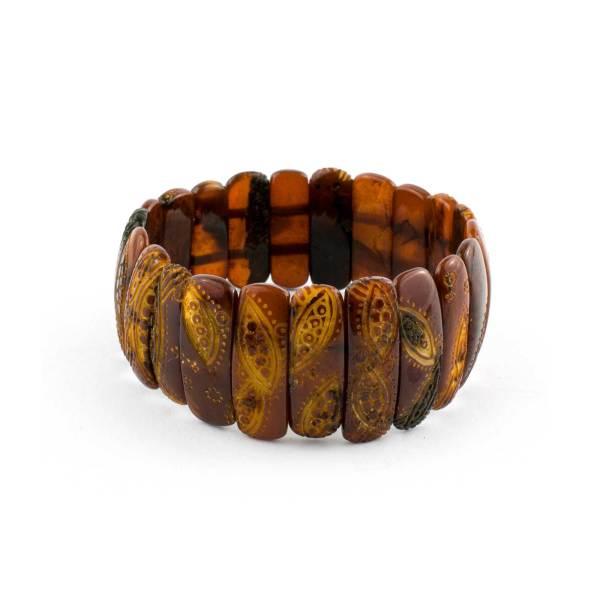 Empossed Beads Amber Bracelet
