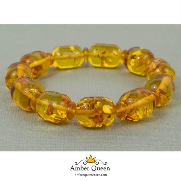 Lemon Barrel Beads Natural Amber Bracelet on Grey