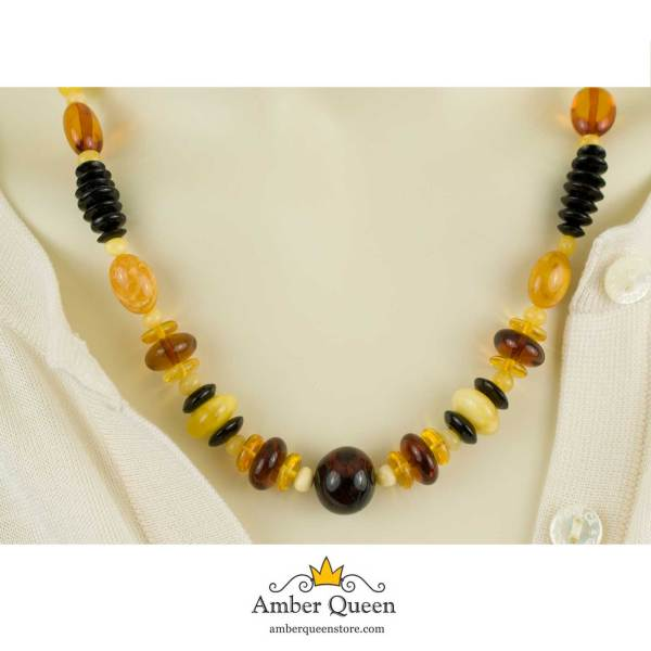 Multi Color Composited Beads Amber Necklace on Mannequin Close Up