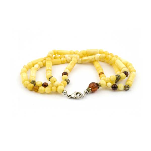Original Amber Bracelet with Four Strings and Silver Lock