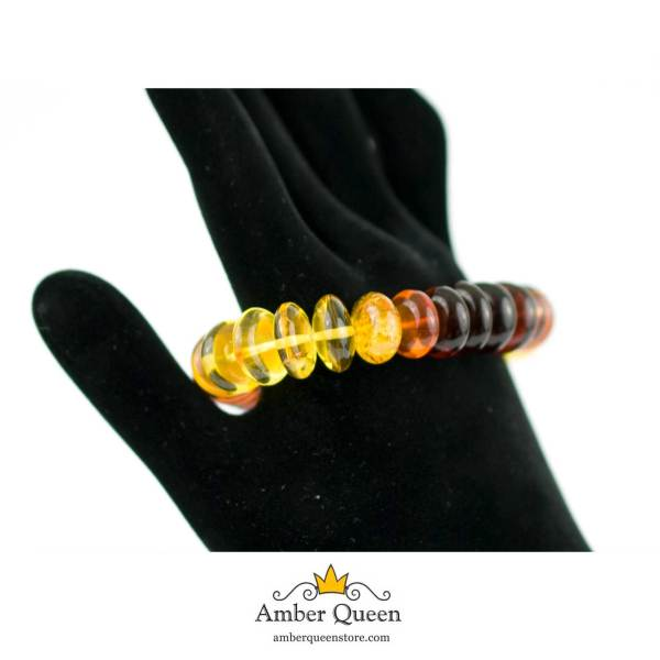 Rainbow Button Beads Amber Bracelet on Hand