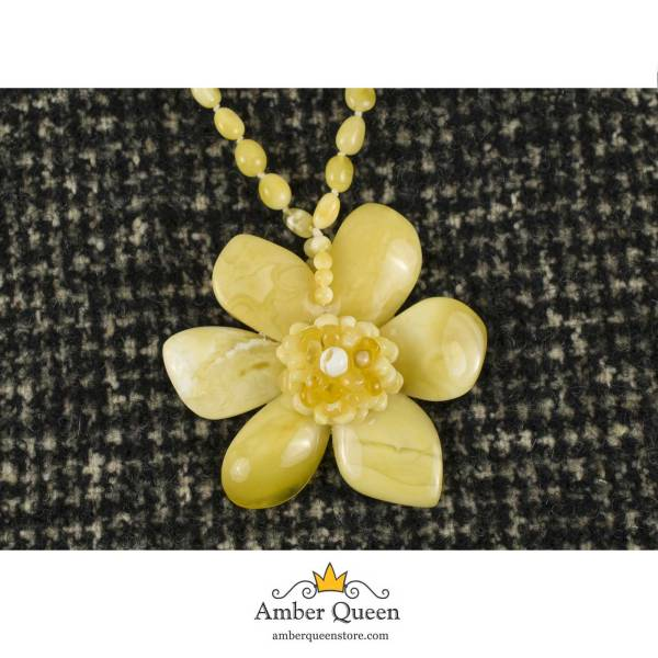 Yellow Amber Necklace with Large Flower Pendant on Mannequin CloseUp