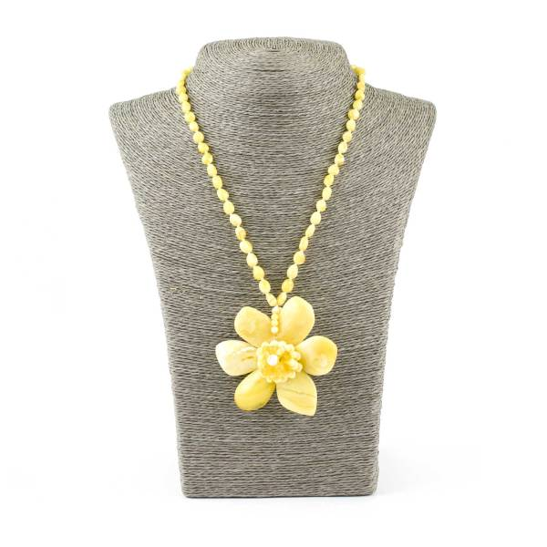 Yellow Amber Necklace with Large Flower Pendant