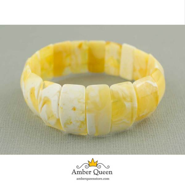 Butterscotch Flat Amber Bracelet with White Pattern on Grey
