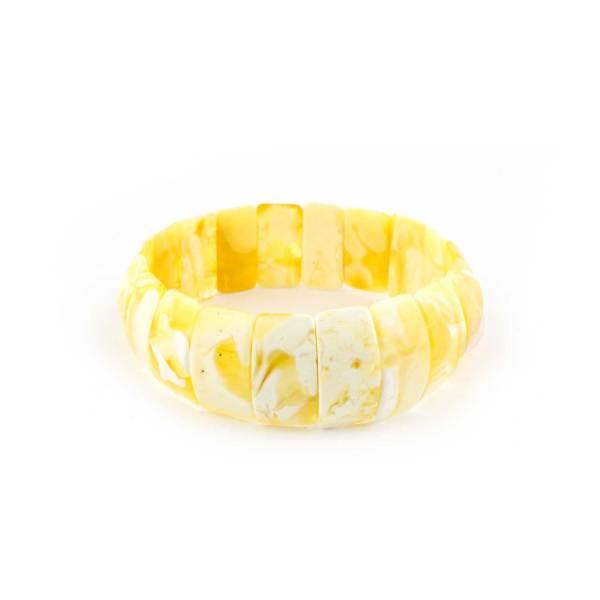 Butterscotch Flat Amber Bracelet with White Pattern