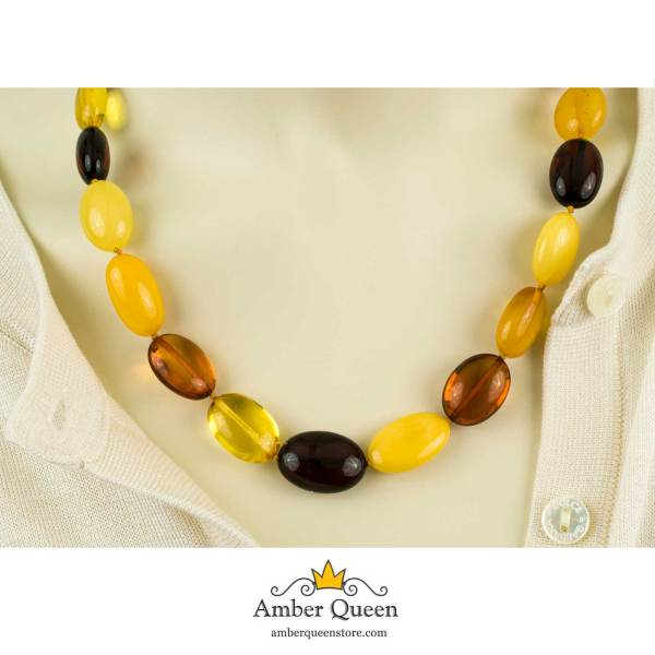 Multicolor Olive Beads Amber Necklace on Mannequin Close Up