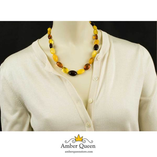 Multicolor Olive Beads Amber Necklace on Mannequin