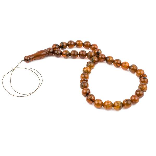 Embossed Round Amber Prayer Beads Main Picture