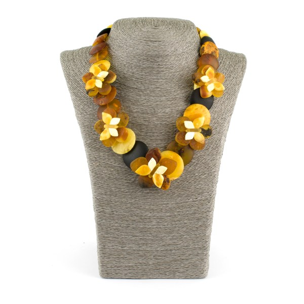 Amber Necklace Disks Buterfly and Flowers