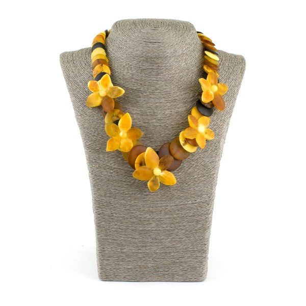 Unpolished Disc Amber Necklace with Flowers