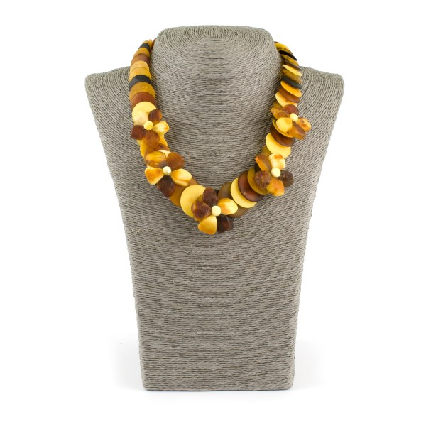 Gorgeous Necklace with Unpolished Amber Flowers