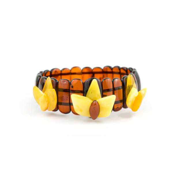 Cherry Amber Bracelet with Flowers