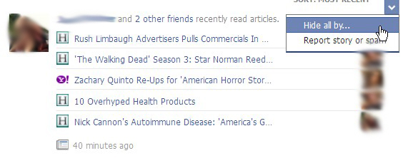 Facebook Fixes: How to prevent articles you have read online from showing up on your wall (1/3)