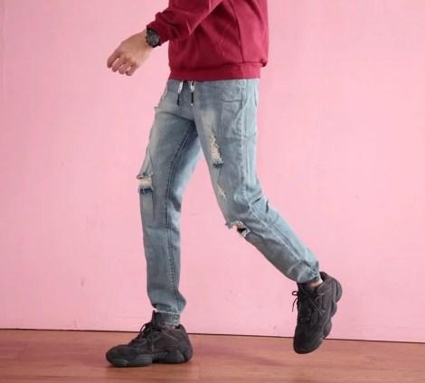 牛仔束口褲3