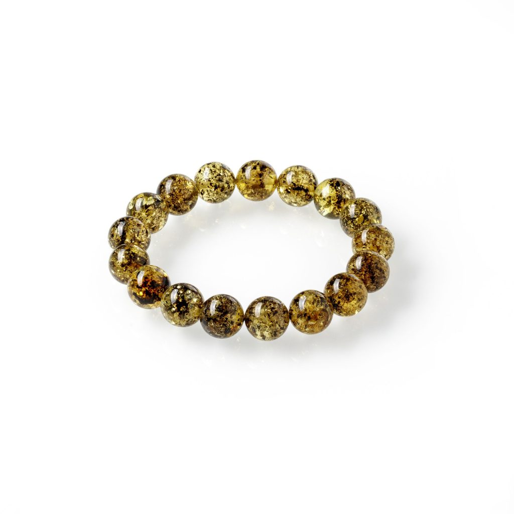 Apvali, žalio gintaro apyrankė 11mm, Round green amber bracelet 11mm