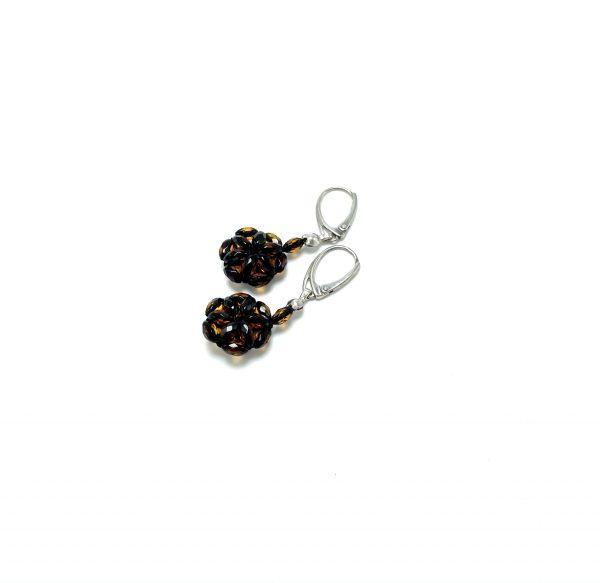 Deimantinio šlifavimo gintaro auskarai Grynas sidabras – Gėlytė, Faceted amber earrings Sterling silver - Flower