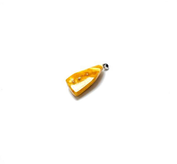 Senovinis geltonai balto gintaro pakabukas Sidabras 925, Antique yellow white amber pendant Sterling silver
