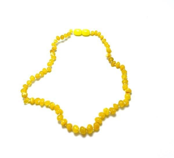Vaikiški gintaro karoliai - geltoni baroko formos šaratėliai,Baby amber necklace - milky baroque beads