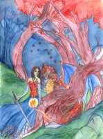 Spring 2012. This was a painting for my friend, Kaitlyn. She wanted to be next to the Pokemon creature, Charizard. That lovely line running through the middle is due to the fact that my scanner is too small for my paintings and I have to scan them in two pieces.
