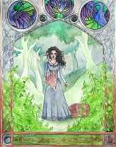 """Some fan art I did back in spring of 2014. Daughter of the Forest by Juliet Marillier is one of my very favorite books. For many reasons, it holds a very special place in my heart. This painting was a tribute to all that the book has given me in terms of strength and healing in hard times. It is a read that I highly recommend, but with caution. There are difficult situations in this book, and those who can't handle even reading about such things have been known to put it down before even giving it chance. For those who can push past the unpleasantness of a situation that happens to people in real life whether it makes us uncomfortable or not, this books will change you forever.  The writing on the archway is a direct quote from the book and reads: """"You will find the way, daughter of the forest, through grief and pain, through  many trials, through betrayal and loss, your feet will walk a straight path."""""""