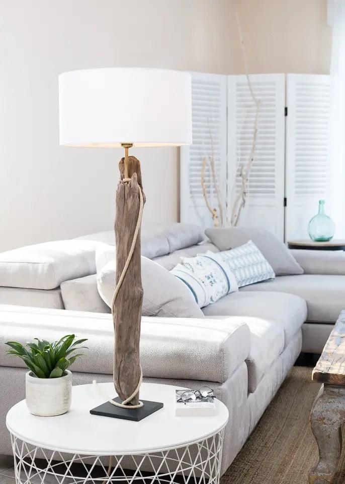 Lampe En Bois Flotte Labat Jour Est Coton Blanc Fabrique A