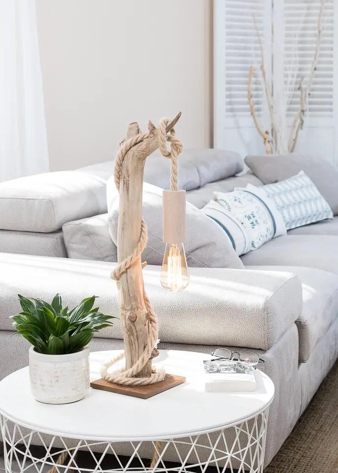 Lampe en bois flott et ampoule edison vendu ambiance for Boutique de bois flotte
