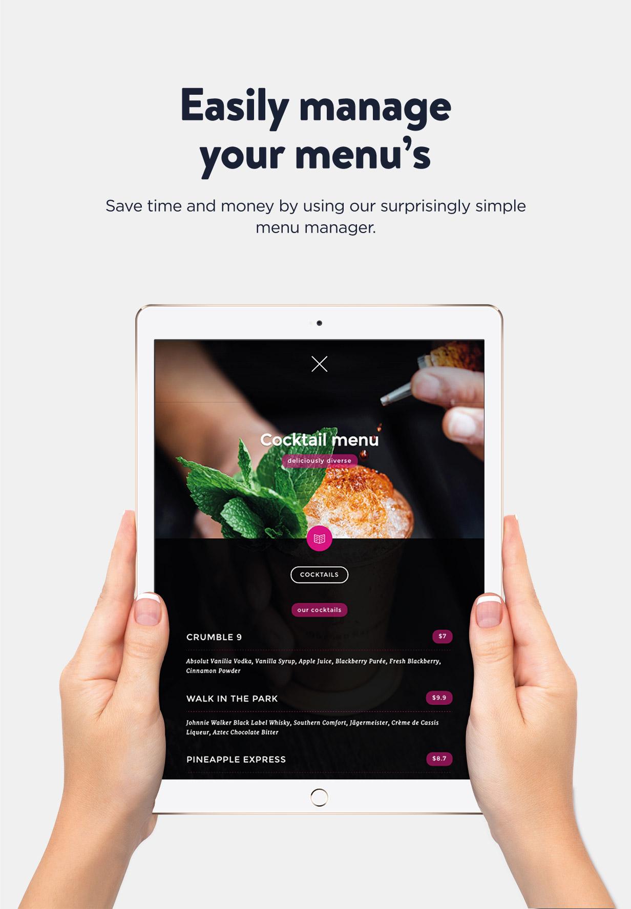 Ambiance Restaurant menu management