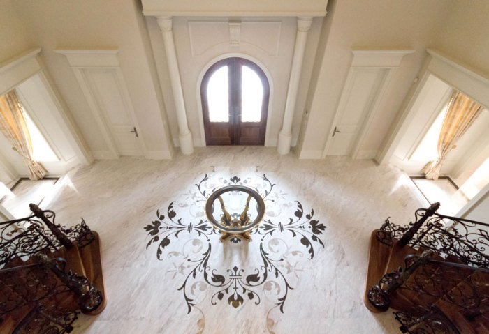 Chateau Inspired Custom Home - Main Foyer - Custom Floor Medallion