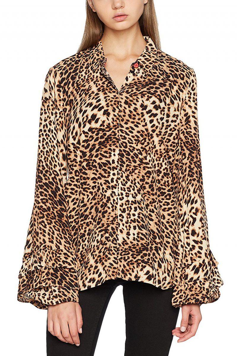Leopardbluse med volangermer Gestuz