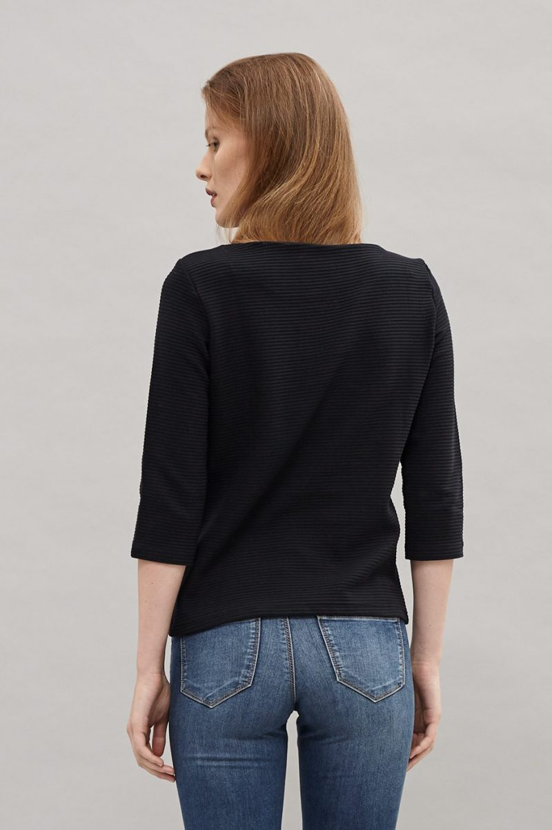 Sort tverrribbet blusetopp Newhouse - Boatneck sweater