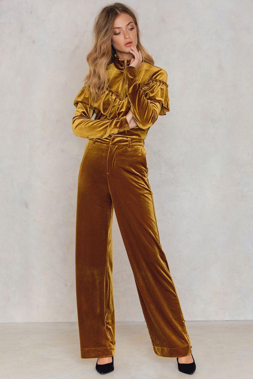 Gull eller sort velour skjortetopp med glidelås Gestuz - locklyn pullover 1307