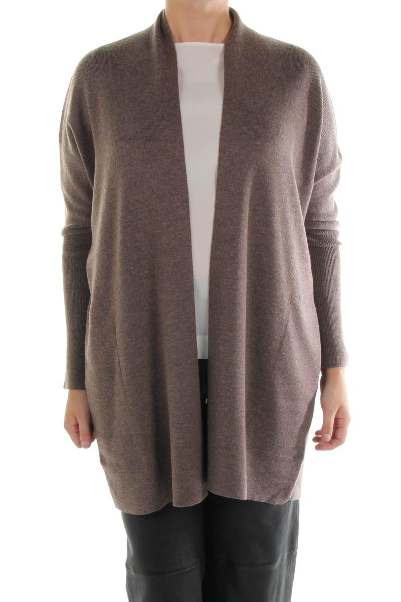Sort, brun eller taupefarget ull cardigan Cathrine Hammel – 113.217 demi shawl cardigan