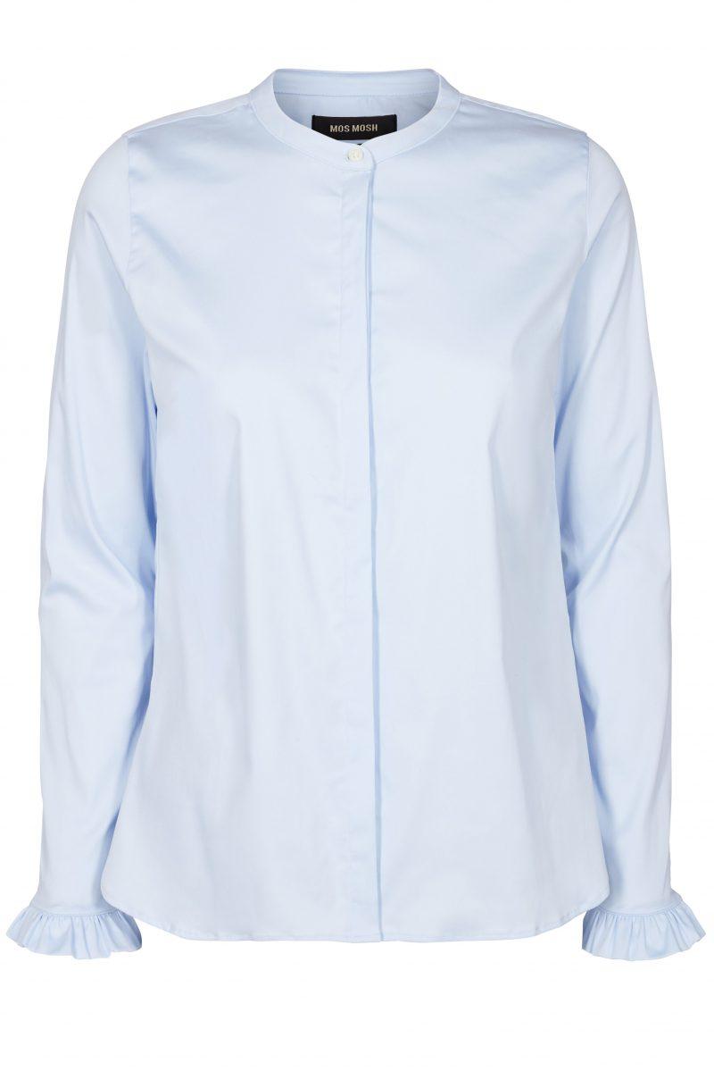 Lyseblå bomullsbluse med kinahals og volang-mansjetter Mos Mosh - 119190 mattie shirt
