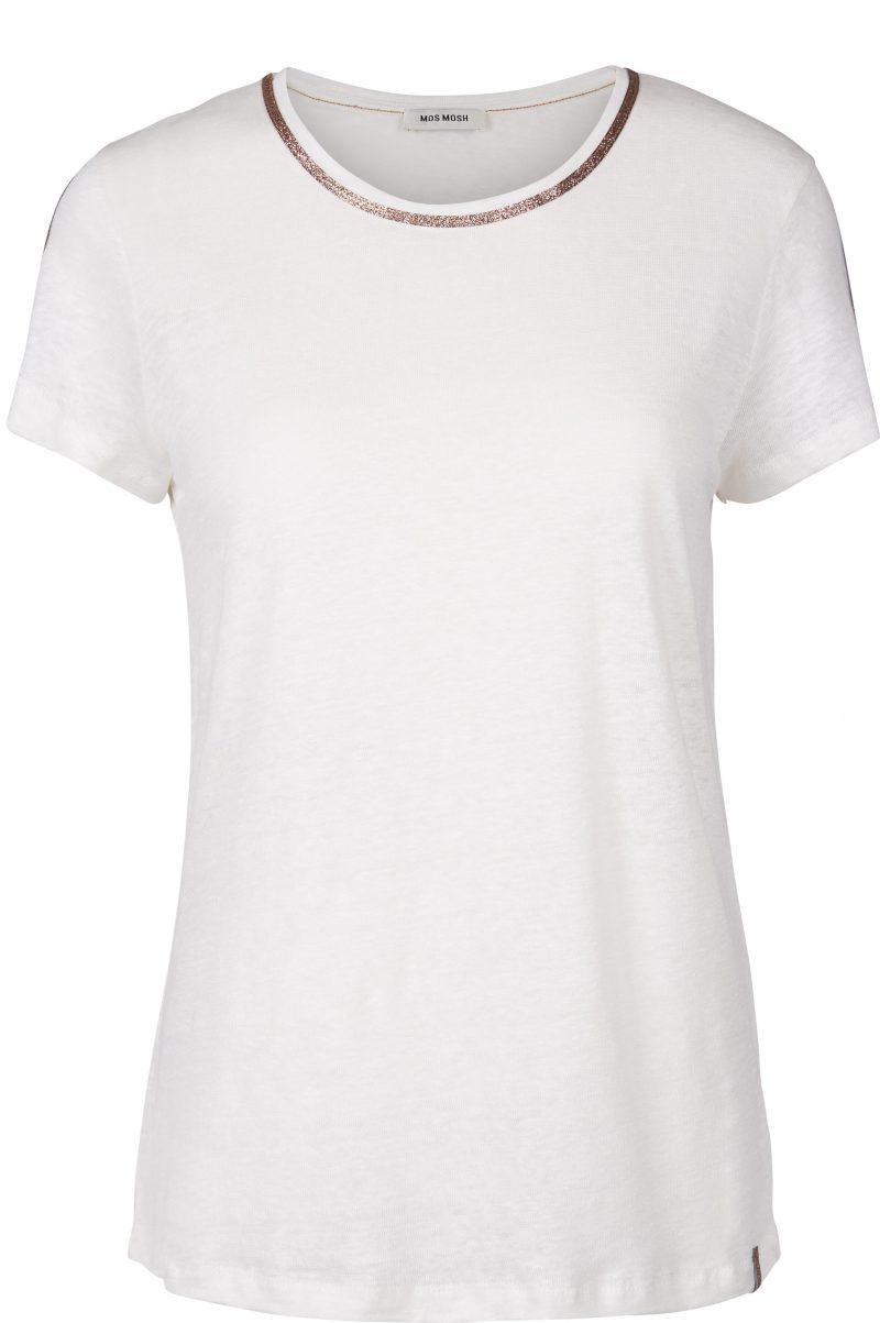 Lin t-shirt med gull lurex-striper - 120920 gina tee
