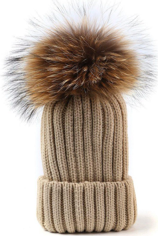 White, black eller gyldenbeige ribbet lue med raccoon dusk CKN - 3948 hat