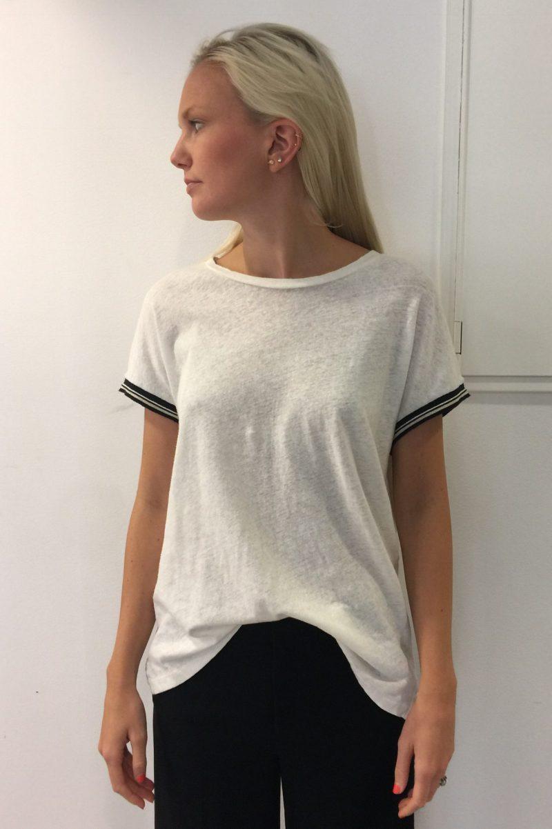 Lin bomull oversized t-shirt med sortstripet kant Mos Mosh - 121330 turner teeIMG_2397