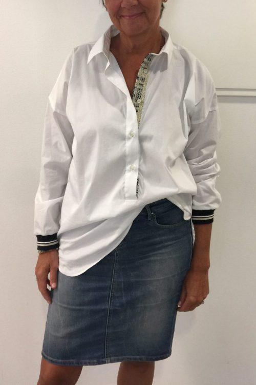 Statementbluse med stolpepynt og stripet mansjetter Mos Mosh - 121060 freya blouse