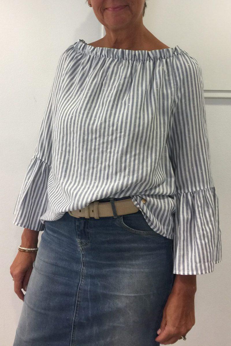 Off shoulder blåstripet bluse med trompetermer - Mos Mosh - 121200 penelope gold blouse