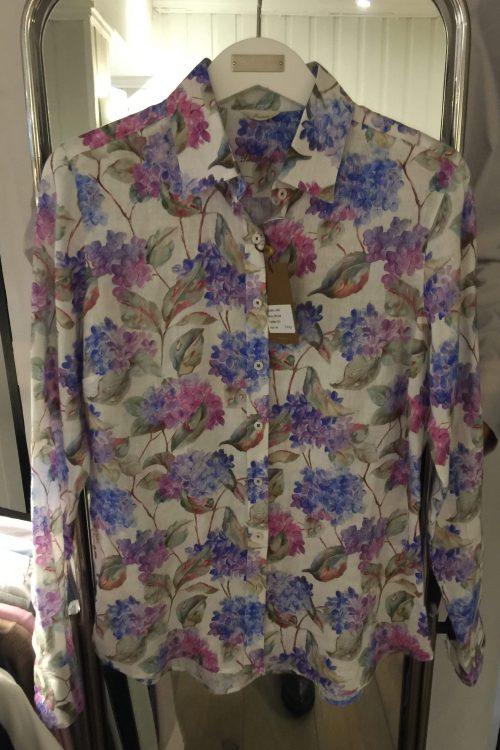 Skjorte med rosablå druemotiv Stenstrøms - 281228-6541-551