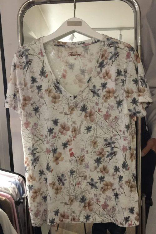 Småblomstret lin t-shirt med v-hals Stenstrøms - 471117-6376-051