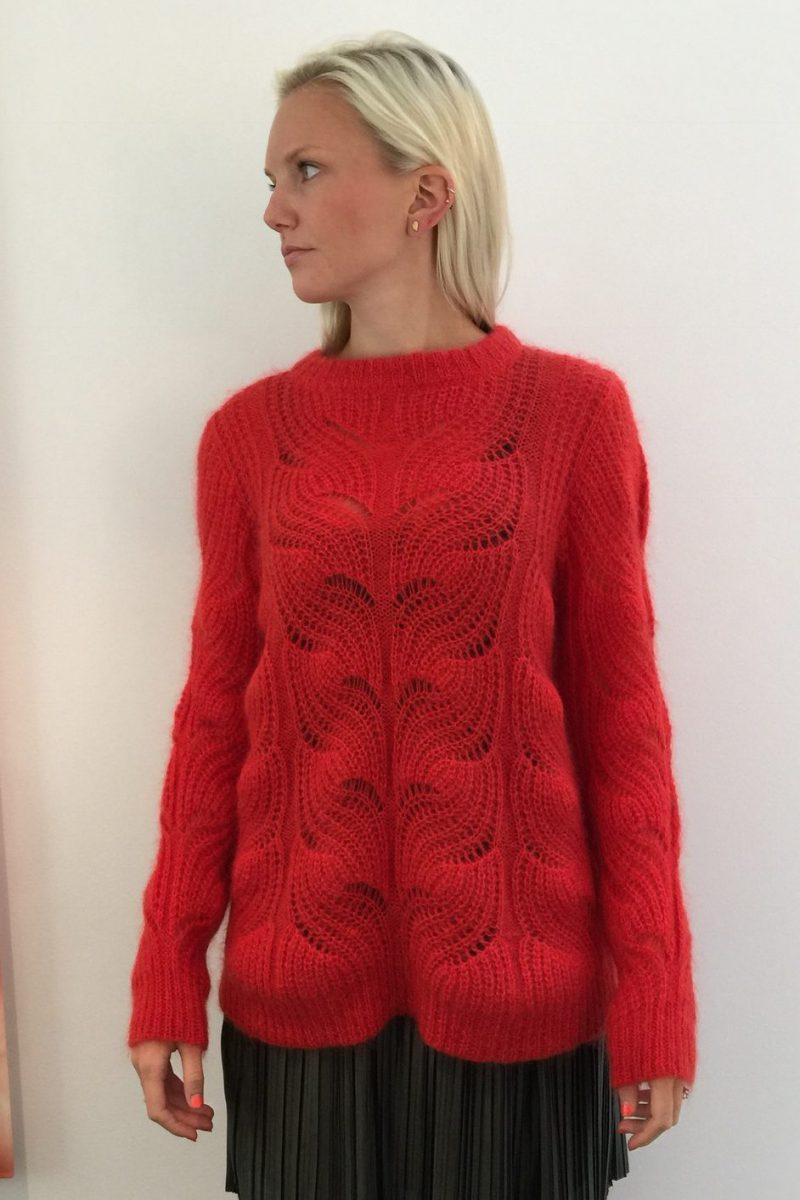 Rød genser med kabelstrikk Dear Dharma - alia cabel