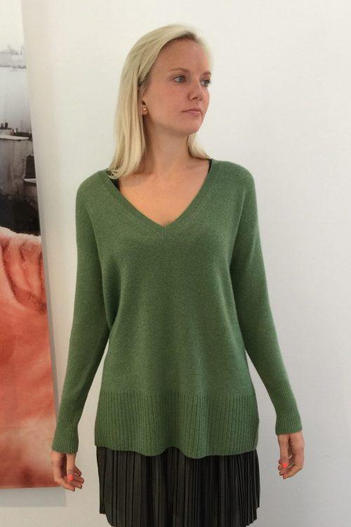 Beige (ikke grønn) 100% cashmere genser med høy ribbet bord Dear Dharma - veve