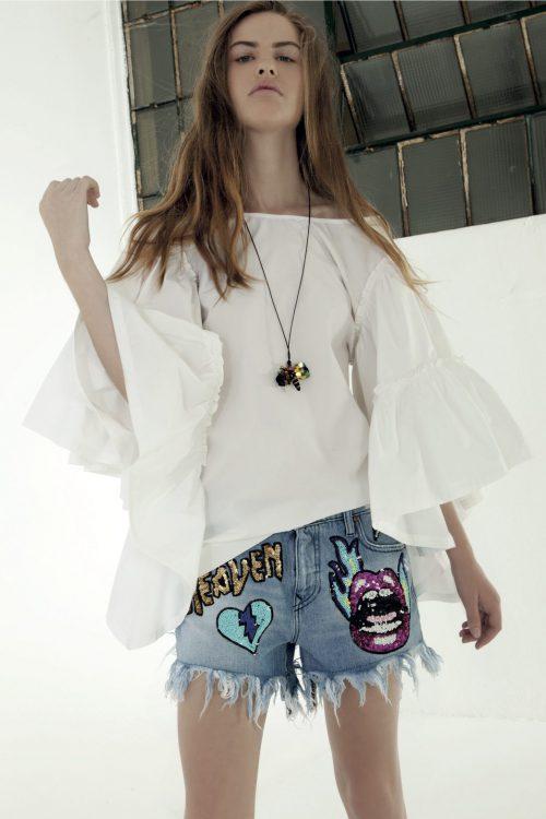 Hvit bluse med volanger Nolita - angel white