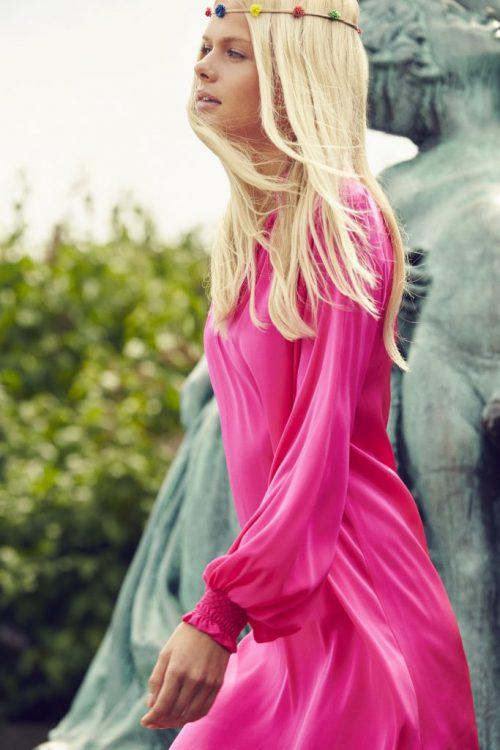Pink silke creppe kjole Dea Kudibal