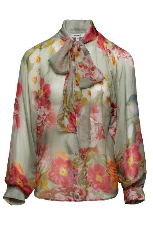 cdd6f36e Sjøgrønnrosamønstret bluse med trendy sløyfe Katrin Uri - 401 novelle tie  blouse .