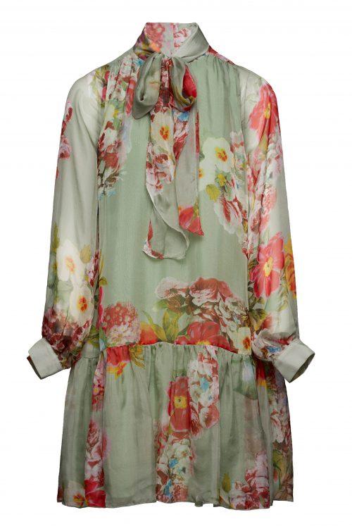 Sjøgrønnrosamønstret kjole Katrin Uri - 606 novelle tie dress