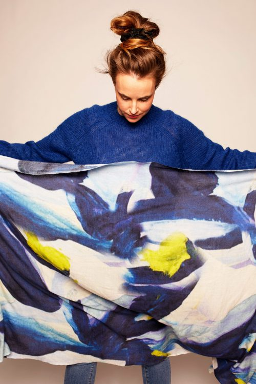 'Blue symphony' skjerf Katrin Uri i cashmere/ull/bomull - 966 blue symphony