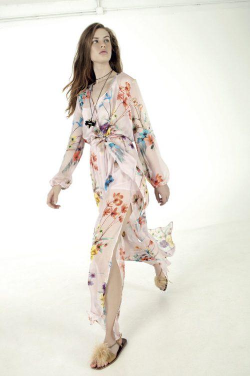 Rosablomstret chiffon kjole Nolita - kristy